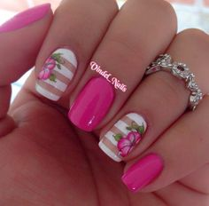 Image via Pink HIBISCUS solids and stripes nail art. Pretty, elegant, love it.