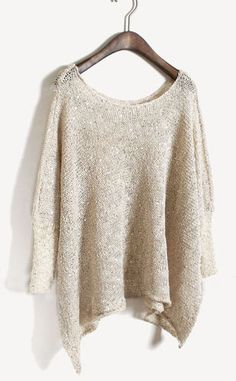 Apricot Batwing Long Sleeve Sequined Loose Sweater