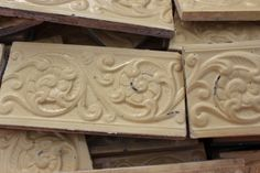 Embossed Cream Border Tiles