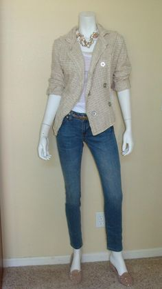 Daily Look: CAbi Spring '13 Ruby Jean, Metallic Skinny Belt, Twist Neck Tank and Simple Cami with last fall's Chenille Jacket and Betsey Johnson flats.  I LOVE this.
