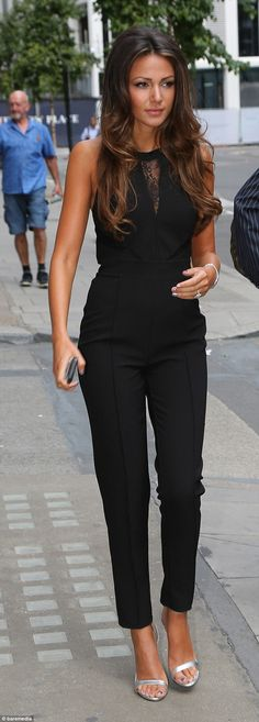 michelle keegan fashion style | Michelle Keegan steps out in sexy black jumpsuit with lacy peep-hole ...