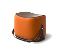 """Ottoman Hermes ottoman with strap that makes it highly portable. L21.1"""" x H14.1"""" x W13.6"""". Storage area covered in chocolate leather.<br />Cover in pumpkin Palomino velvet.<br /><br />Recalling the shape of a saddle, the ottoman offers small occasional seating and occasional storage.<br />This piece is crafted in the style of fine leather goods and requires intricate craftsmanship.<br />"""