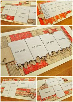 """4 Photo Double Page Scrapbook Layout - love the fussy cut butterflies. Authentique """"Care Free"""" papers."""