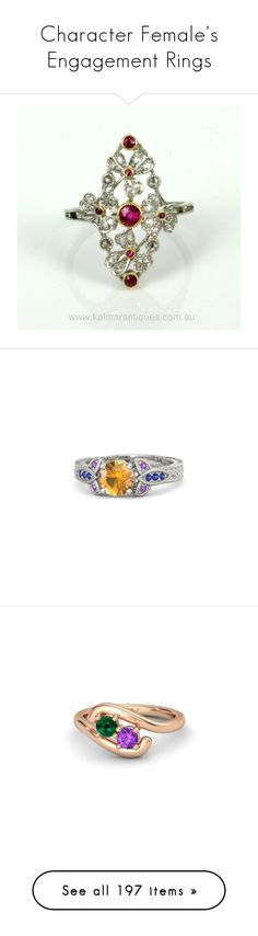 """""""Character Female's Engagement Rings"""" by thesassystewart on Polyvore featuring jewelry, rings, epoque, ruby jewelry, diamond rings, ruby diamond ring, ruby ring, leaves ring, citrine jewelry and leaf ring"""