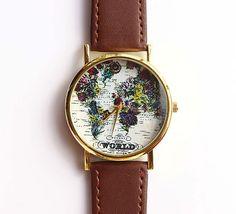 Vintage Flower World Map Watch For Women Dress Watch by YYworkshop