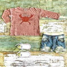 Toddler Boys Clothes ~ Bobo Choses 'crab your hands' tee, Rock Your Kid shorts & Converse low top sneakers [shop link below] www.tinystyle.com.au