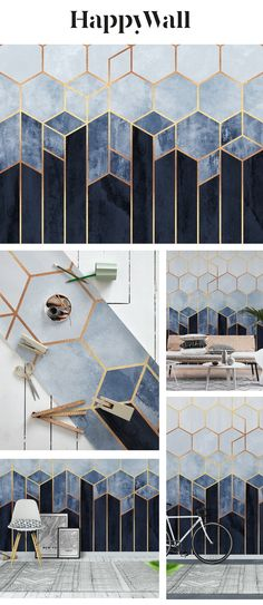 Soft Blue Hexagons wall mural from Happywall