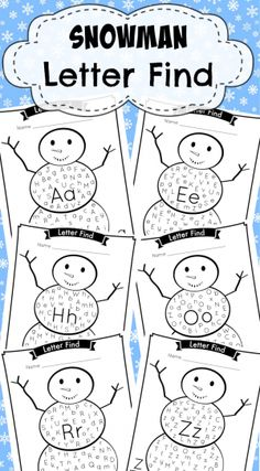 Adorable Snowman Letter Find. Capital and Lowercase, letters A-Z. These are great for letter recognition and counting. #preschool #kindergarten #worksheets #activity