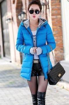 Women's Slim Down Warm Hodded Parka Coat