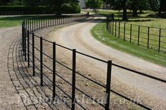 Estate Fencing Installation for Parks and Estates UK Wide. Driveway Fence, Driveway Entrance, Driveway Landscaping, Farm Fence, Backyard Fences, Garden Fencing, Farm Gate, Ranch Fencing, Cobblestone Driveway