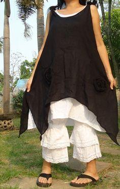 Black & White cotton pixie layers mini dress by rushtar on Etsy, $38.00