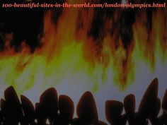 London Olympics 2012. The fires of the copper petals of the caldron before raising them to make the main big torch