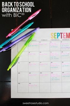 Back to School Organization made easy with a link to free calendars from @The TomKat Studio! #BIC #spon