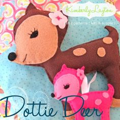 Felt Pattern - Dottie Deer Felt Plushie and Ornament - PDF Pattern.