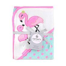 Carters Pink Flamingo Character Hooded Bath Towel