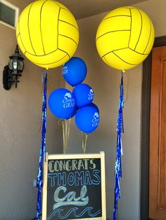 Nat your average girl.: Nat Your Average Party {Berkeley Bound} Volleyball Party, Softball, Senior Night Gifts, Swimming Party Ideas, Swimming Diving, Balloon Centerpieces, Bridal Shower Party, Grad Parties, Average Girl