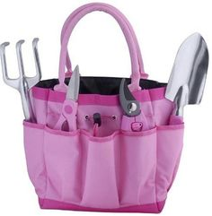 Pink 5 Piece Garden Tool Bag Gift Set - benefits National Breast Cancer Foundation