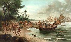 Desembarque de pedro Álvares Cabral em Porto Seguro em 1500. Pintura a óleo de Óscar Pereira da Silva (1867-1939)