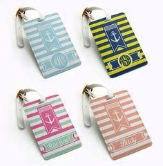Luggage Tag, Travel Bag Tag, Suitcase Tag, anchor sailing stripe design, Custom personalised monogrammed custom name initial (N05)