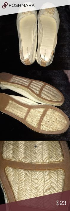 Etienne Aigner Espadrilles Beige canvas/leather flats. Braided flower accent, rope stitching, cushioned footbed. No defects. Worn only once for 14 hours on plane. Etienne Aigner Shoes Espadrilles