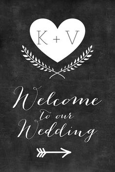 Chalkboard Welcome To Our Wedding Personalized Sign Arrow Directional Printable Ceremony