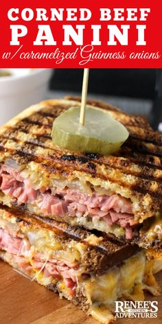 Corned Beef Panini with Caramelized Guinness Onions takes leftover corned beef and transforms it into delicious warm panini with cheddar cheese and caramelized Guinness onions on marble rye bread. Corned Beef Sandwich, Corned Beef Recipes, Reuben Sandwich, Corned Beef Hash, Healthy Diet Recipes, Cooking Recipes, Healthy Food, Meal Recipes, Best Panini Recipes