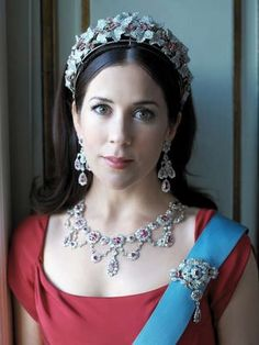 HRH Crown Princess Mary of Denmark wearing the ruby and diamond parure that was Crown Prince Frederick's grandmothers.