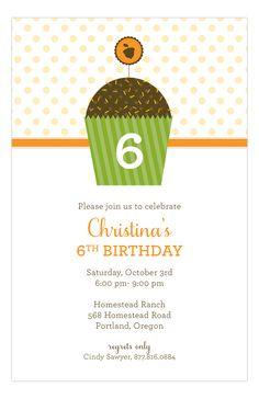Harvest Cupcake Invitation from Polka Dot Design