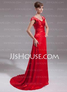 Vestidos princesa/ Formato A Decote V Cauda vassoura Charmeuse laço Vestido de festa com Pregueado Beading (017005598) - JJsHouse