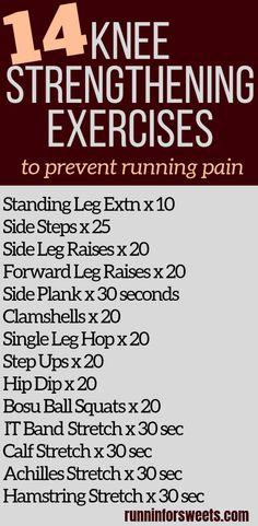 Knee Strengthening Exercises, Exercises For Knee Injuries, Knee Exercises For Runners, Exercises For Knees, Knee Injury Workout, Knee Stretches, Running Injuries, Compound Exercises, Stretching Exercises