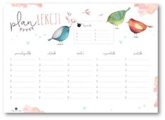 Plan zajęć – Depth of souls Timetable Planner, School Timetable, School Plan, Back To School, Cute Stationery, Printable Planner, Printables, Digital Stamps, Collage Sheet
