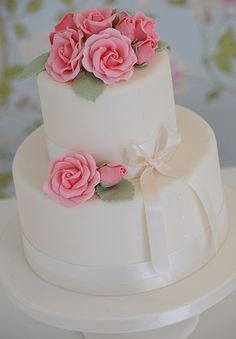 Very pretty wedding cake with pink roses