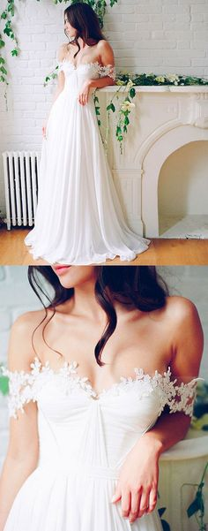 white A line chiffon long wedding dress, white long bridal dress
