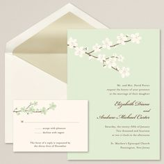 Budding Blossoms Wedding Invitation | #exclusivelyweddings | #limegreenwedding