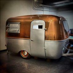 Copper and Silver Vintage RV Glamper