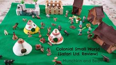 A Colonial Small world from Mucnkin and Bean featuring our Jamestown Settles, Powhatan Indians and more animals from our TOOBs! Baby Sensory Play, Sensory Bins, Powhatan Indians, School Projects, School Ideas, Toddler School, My Father's World, Small World Play, History Class