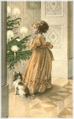 Victorian image, girl with dog, Christmas tree, candlelight.