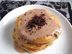 Chocolate Chip Cookie Dough Glazed Pancakes for One