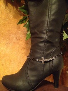 Rhinestone cross Boot Bling adjustable to fit dress or cowboy boots.