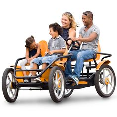 The Touring Quadracycle - Hammacher Schlemmer - Unlike other quad bikes, this touring pedal-cycle allows adults in the rear to steer, accommodating up to four riders. Made in the Netherlands, where cycling routes span the country's length and breadth, the quadracycle has twin rear seats equipped with pedals that power its rear drive train forward and backward.
