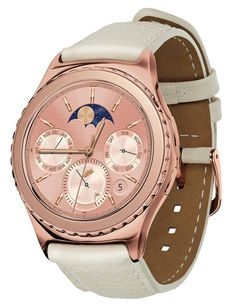 Samsung Gear S2 classic, Bluetooth (Rose Gold) Elevate your style with the Rose Gold Samsung Gear S2 classic smartwatch. With its elegant 18k rose gold plated design and matching ivory genuine leather