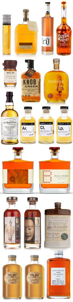 Assorted whiskey bottles and #packaging PD