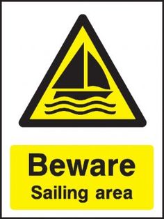 Sailing area safety sign