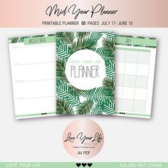 2017 2018 Planner Mid Year Planner Green palm foliage To