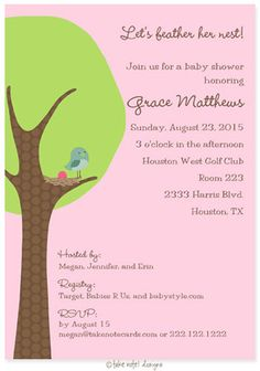 Feather the nest baby shower invitation