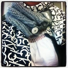 Wearing today...cute or no?? Either way, it's super cozy!!     This is @Misty Patton gray scarf she made me (she does really great work!) layered with Calvin Klein black and white logo scarf that I got for Christmas...