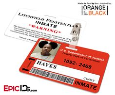 Orange is the New Black Inspired Litchfield Penitentiary Inmate Wearable ID Badge - Hayes, Cindy (Black Cindy)