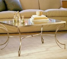 glass top coffee table with brass legs