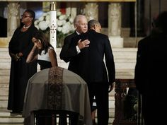 "Vice President Joe Biden and President Barack Obama at the funeral of Joseph ""Beau"" Biden, son of the Vice President, June 2015"