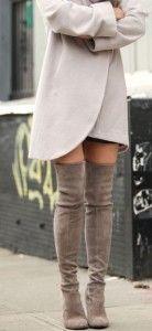 Light Knee High Boots - White Knee High Boot - Brown Boots  #Fashion #Boots #HighBoots #BlackBoot #BrownBoots #Trend2015